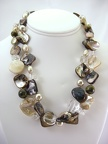 Double strand of brown mother of pearl, with silica, pearl and tigers eye necklace.SE144