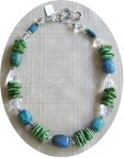 Green turquoise with azurite and rock quartz necklace. TN4