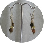 "Jasper, bronze freshwater pearl and citrine sterling earrings   ED1202   Dangle is 1.25"" long  $27.00"
