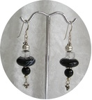 "Sard onyx and rock crystal sterling earrings.  E1227  Dangle is 1.5"" long   $30.00"