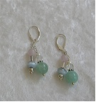 Sterling double hung amazonite rock quartz and rose quartz earrings.  $32.00  E01