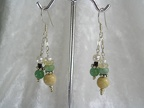 "Yellow jasper, aventurine and freshwater pearl sterling earrings.  ED1225  Dangle is 1.5"" long   $32.00"