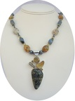"Multi stone sterling pendant on hematite, agate and jasper necklace.  19.25"" long  Citrine sterling clasp."